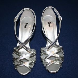 Silver Formal Strappy Heels Size 7.5